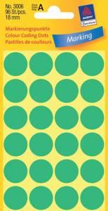 Etiket Avery (3006) runde Ø:18mm grøn - 96stk/pak