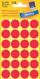 Etiket Avery (3004) runde Ø:18mm Rød - 96stk/pak