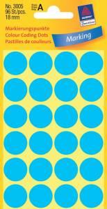 Etiket Avery (3005) runde Ø:18mm Blå - 96stk/pak