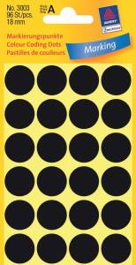 Etiket Avery (3003) runde Ø:18mm Sort - 96stk/pak