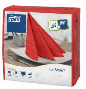 Serviet Tork Premium Linstyle 39x39 Rød - 600stk/kar
