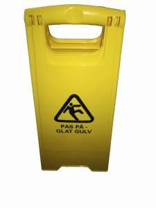 Advarselsskilt med piktogram 'Pas på - glat gulv' gult