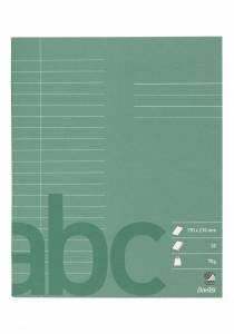 Skolehæfte 17x21 cm 20 linjer 9mm 32 sider 70g mørk grøn