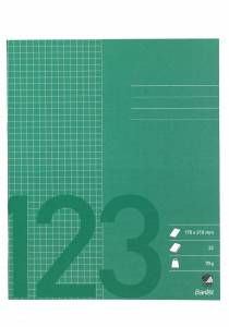 Skolehæfte 17x21 cm kvad. 5x5mm 32 sider 70g græs grøn