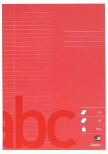 Skolehæfte A4 32 linjer 8.5 mm 40 sider 70g rød