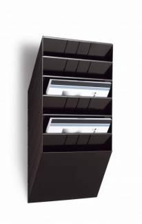 Brochureholder Flexiboxx 6 t/væg A4 vandr. 620x348x95mm - Sort