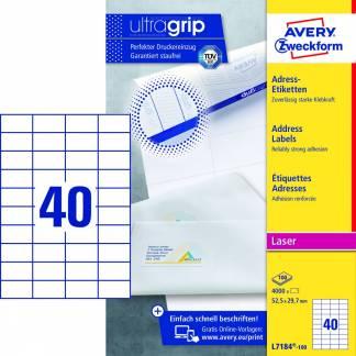 Avery (L7184-100) adresseetiket med Ultragrip standard 52,5x29,7mm (400)